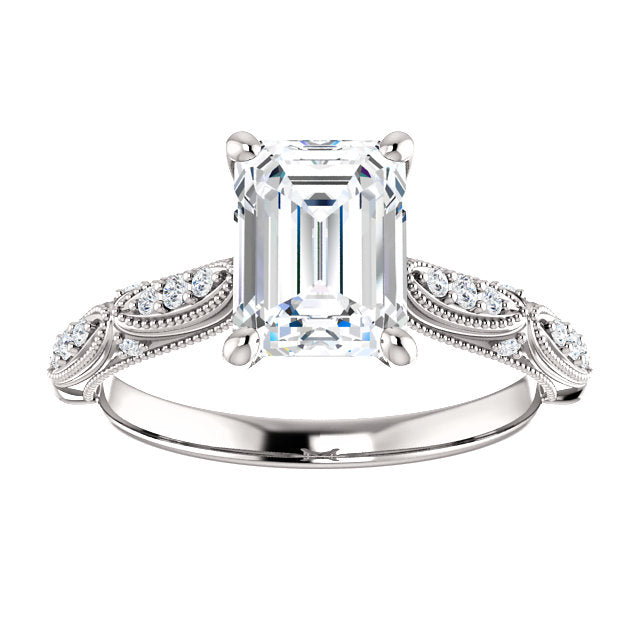 Emerald Diamond Detailed Engagement Ring - Michael E. Minden Diamond Jewelers