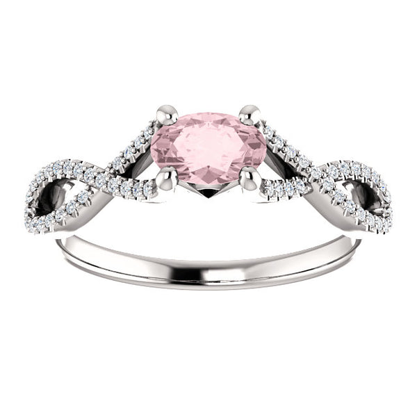 Oval Morganite East to West Twisted Engagement Ring - Michael E. Minden Diamond Jewelers