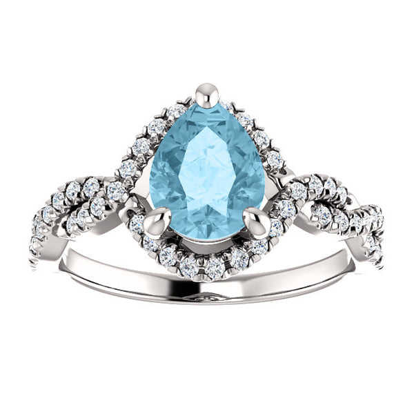 Birthstone Pear Shape Wide-Set Halo Engagement Ring - Michael E. Minden Diamond Jewelers
