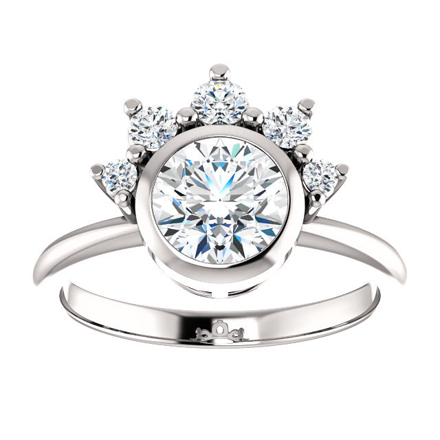 Round Bezel Set Unique Diamond Detail Engagement Ring - Michael E. Minden Diamond Jewelers