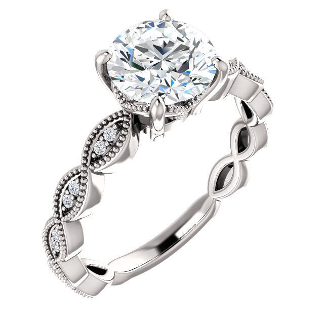 Round Twisted Texture Diamond Engagement Ring - Michael E. Minden Diamond Jewelers