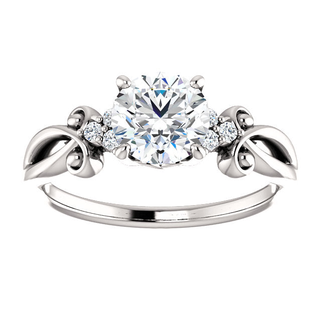 Round Cut Three Stone Swirled Detail Engagement Ring - Michael E. Minden Diamond Jewelers