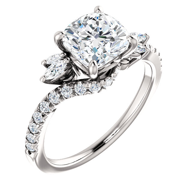 Accented Cushion Cut Engagement Ring - Michael E. Minden Diamond Jewelers