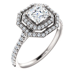 Asscher Cut Double Halo Engagement Ring - Michael E. Minden Diamond Jewelers