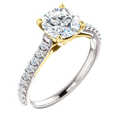 Two-Tone Ribbon Engagement Ring - Michael E. Minden Diamond Jewelers