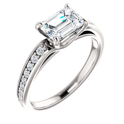 Emerald East to West Set Engagement Ring - Michael E. Minden Diamond Jewelers