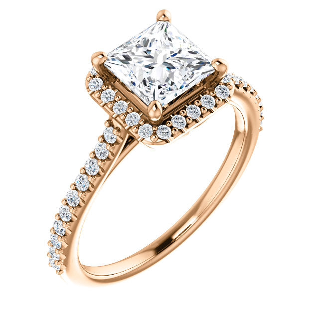 Princess Cut Halo Engagement Ring - Michael E. Minden Diamond Jewelers