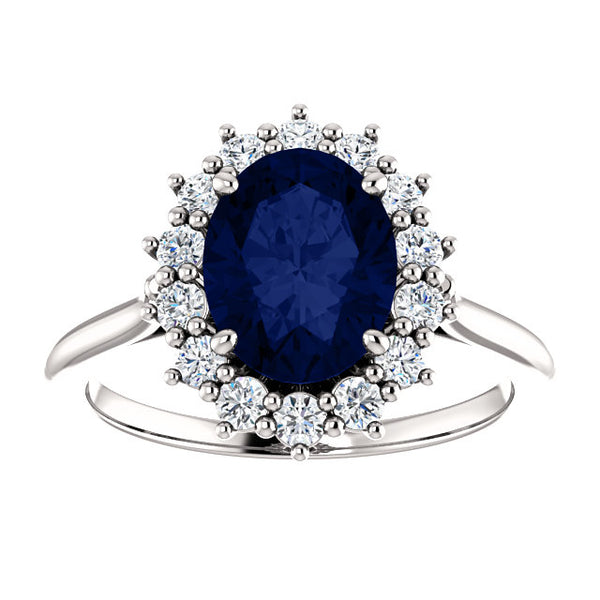 Vintage Inspired Halo Colored Stone Engagement Ring - Michael E. Minden Diamond Jewelers