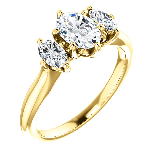 Oval Three-Stone Engagement Ring - Michael E. Minden Diamond Jewelers