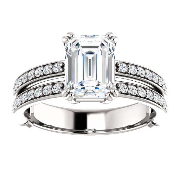 Emerald Cut Double Row Engagement Ring - Michael E. Minden Diamond Jewelers
