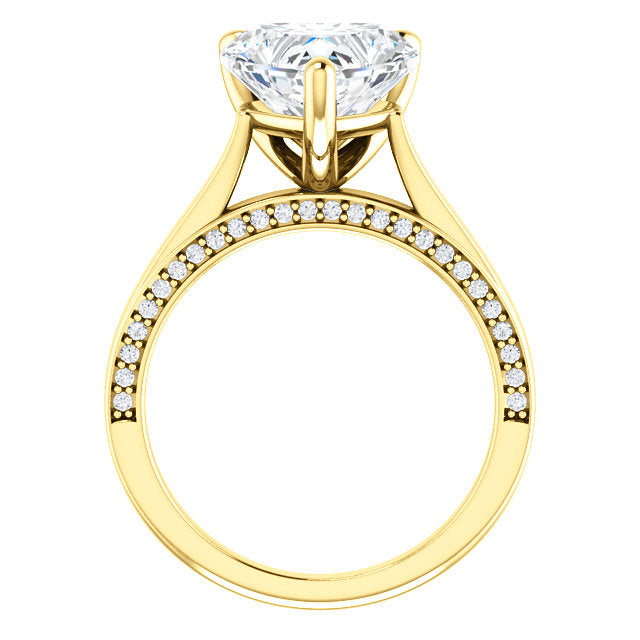 Heart Shape Diamond Detail Engagement Ring - Michael E. Minden Diamond Jewelers