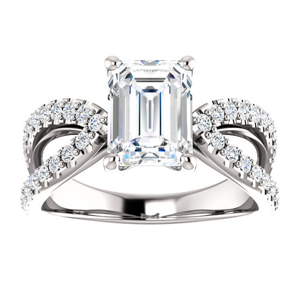 Emerald Split Semi-Mount Engagement Ring - Michael E. Minden Diamond Jewelers