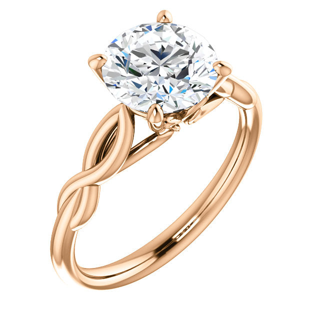 Round Solitaire Twisted Engagement Ring - Michael E. Minden Diamond Jewelers