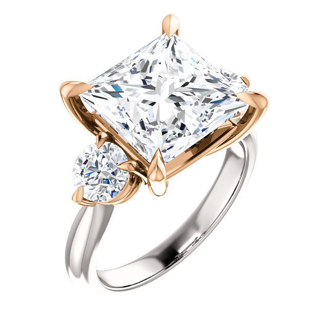 Two-Tone Prong Set Princess Cut Engagement Ring - Michael E. Minden Diamond Jewelers