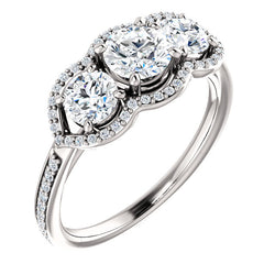 Three-Stone Halo Engagement Ring - Michael E. Minden Diamond Jewelers