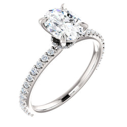 Oval Shape Set With Hidden Under Halo Engagement Ring - Michael E. Minden Diamond Jewelers