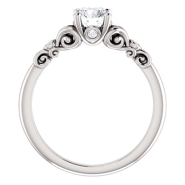 Fleur De Lis Inspired Engagement Ring - Michael E. Minden Diamond Jewelers