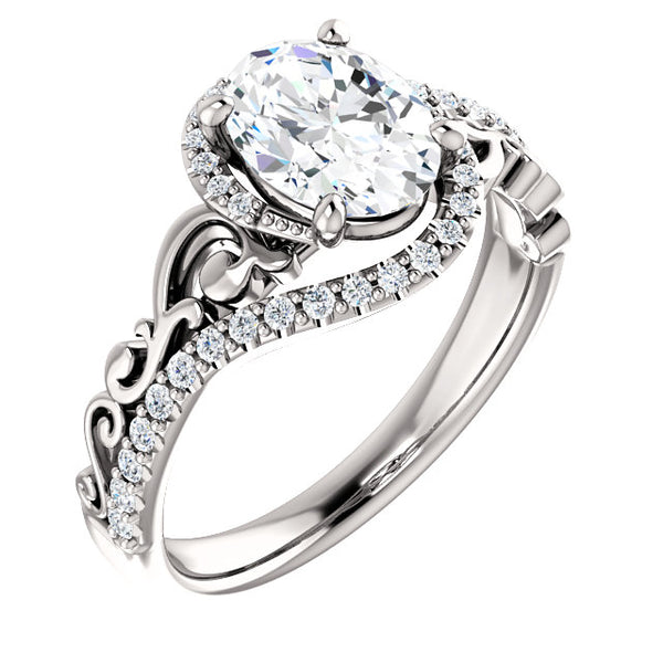 Sculptural Oval Halo Engagement Ring - Michael E. Minden Diamond Jewelers