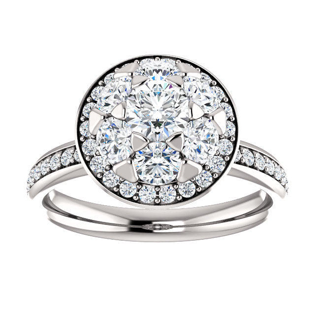 Round Cluster Halo-Style Engagement Ring - Michael E. Minden Diamond Jewelers