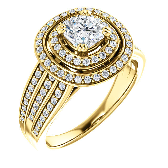 Double Halo Three Row Engagement Ring - Michael E. Minden Diamond Jewelers