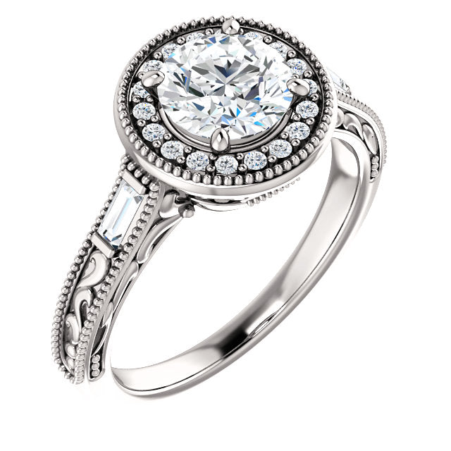 Round Halo Intricate Setting Engagement Ring - Michael E. Minden Diamond Jewelers