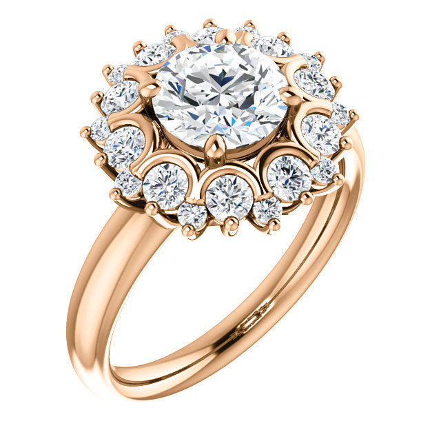 Round Halo Vintage Inspired Engagement Ring - Michael E. Minden Diamond Jewelers
