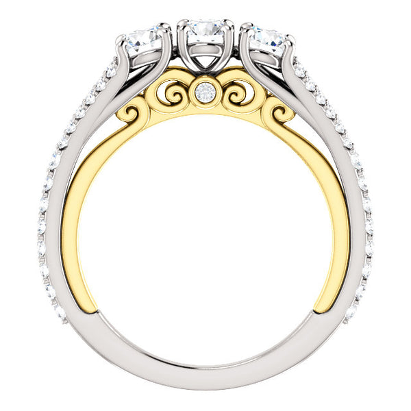 White Gold Three Stone Two-Tone Undergallery Engagement Ring