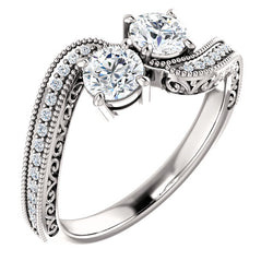 Two-Stone Wrapped Detail Engagement Ring - Michael E. Minden Diamond Jewelers