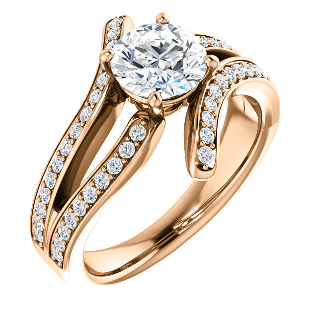 Round Bypass Curve Engagement Ring - Michael E. Minden Diamond Jewelers