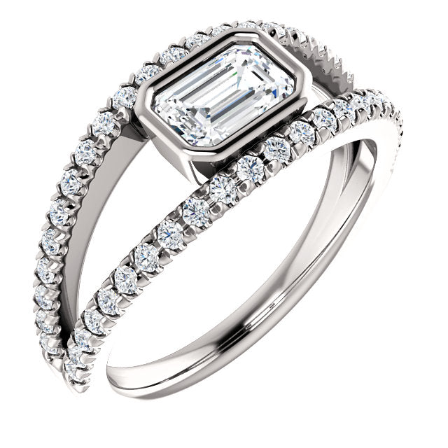Bezel Set Split Setting Engagement Ring - Michael E. Minden Diamond Jewelers