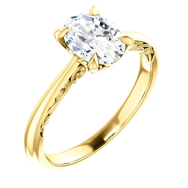 Oval Intricate Solitaire Engagement Ring - Michael E. Minden Diamond Jewelers