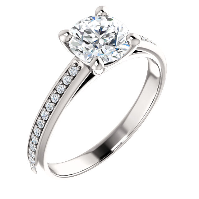 Round Cut Middle Diamond Row Engagement Ring - Michael E. Minden Diamond Jewelers