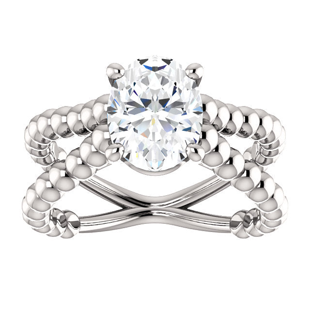 Oval Beaded Solitaire 'X' Ring - Michael E. Minden Diamond Jewelers