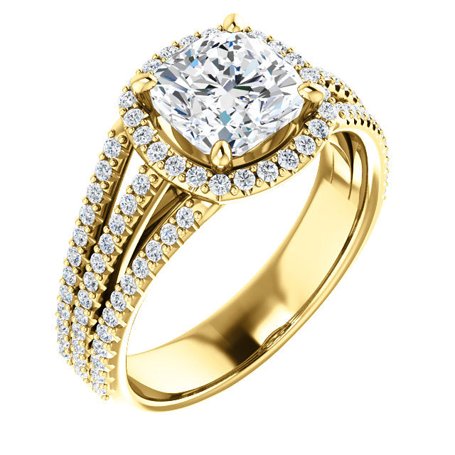 Cushion Shape Halo Three-Row Engagement Ring - Michael E. Minden Diamond Jewelers