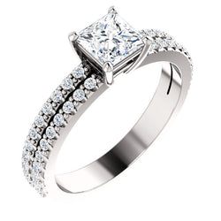 Princess Cut Double Row Engagement Ring - Michael E. Minden Diamond Jewelers