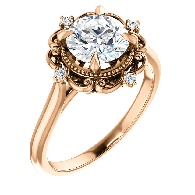 Vintage Inspired Swirl Engagement Ring - Michael E. Minden Diamond Jewelers
