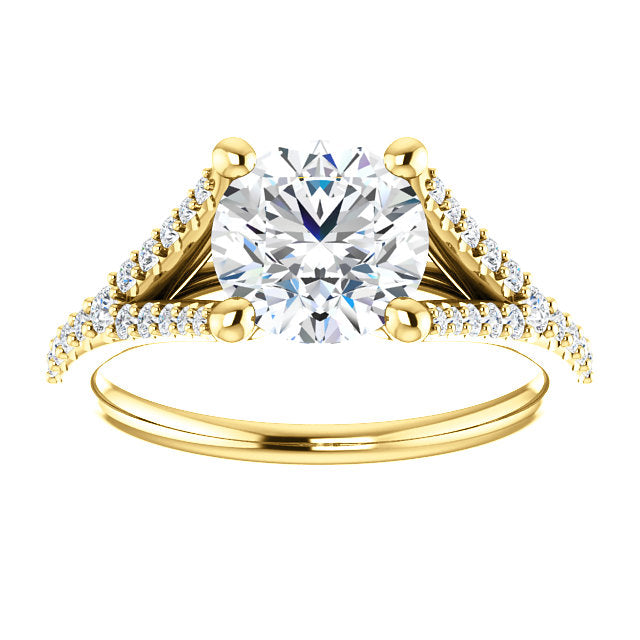 Round Cut Split Shank Engagement Ring - Michael E. Minden Diamond Jewelers