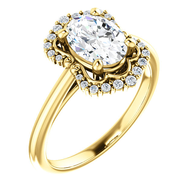 Oval Intricate Halo Engagement Ring - Michael E. Minden Diamond Jewelers
