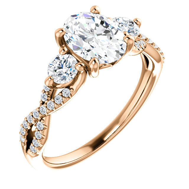 Oval Three-Stone Twisted Detail Engagement Ring - Michael E. Minden Diamond Jewelers