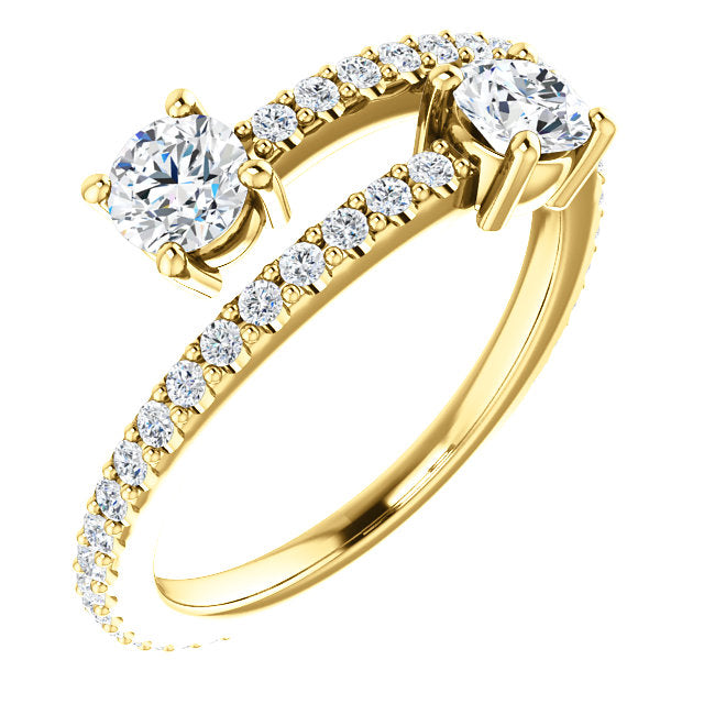 Two-Stone Bypass Engagement Ring - Michael E. Minden Diamond Jewelers