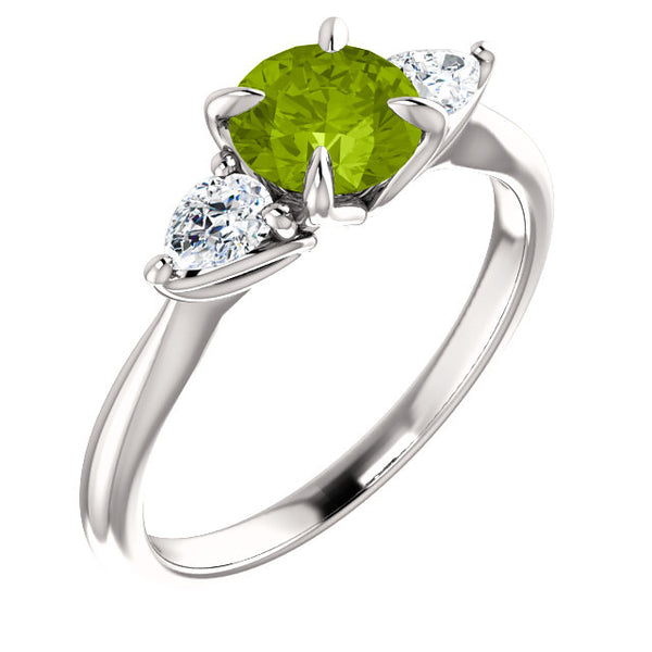 Colored Stone (Peridot) Three-Stone Round and Pear Engagement Ring - Michael E. Minden Diamond Jewelers