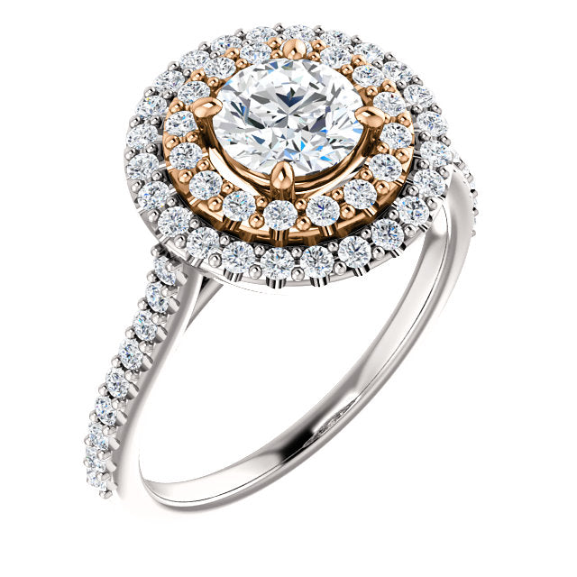 Double Halo Two-Tone Prong Set Engagement Ring - Michael E. Minden Diamond Jewelers
