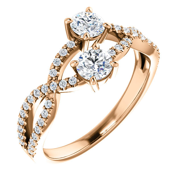 Two-Stone Stacking Twisted Engagement Ring - Michael E. Minden Diamond Jewelers