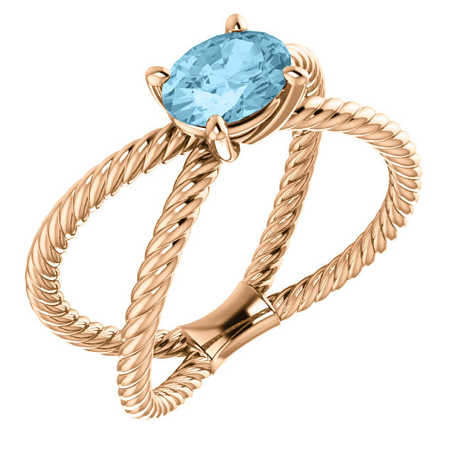 Colored Stone 'X' Rope Twisted Ring - Michael E. Minden Diamond Jewelers