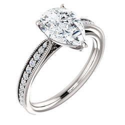 Pear Shape Milgrain Solitaire Engagement Ring - Michael E. Minden Diamond Jewelers