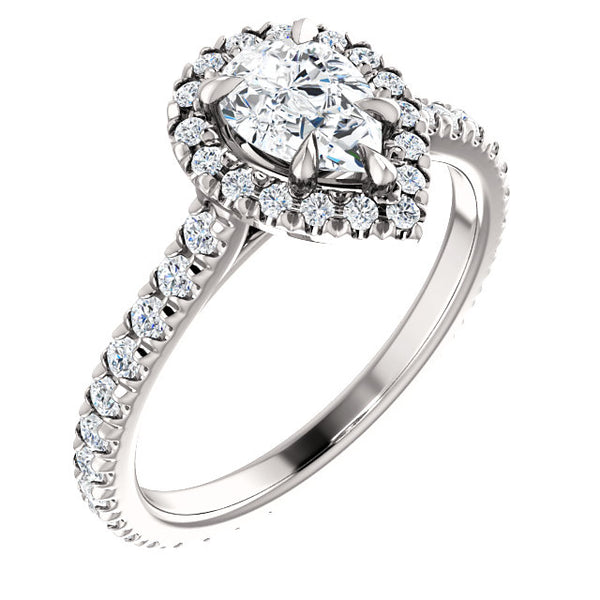 Pear Halo Eternity Set Engagement Ring - Michael E. Minden Diamond Jewelers