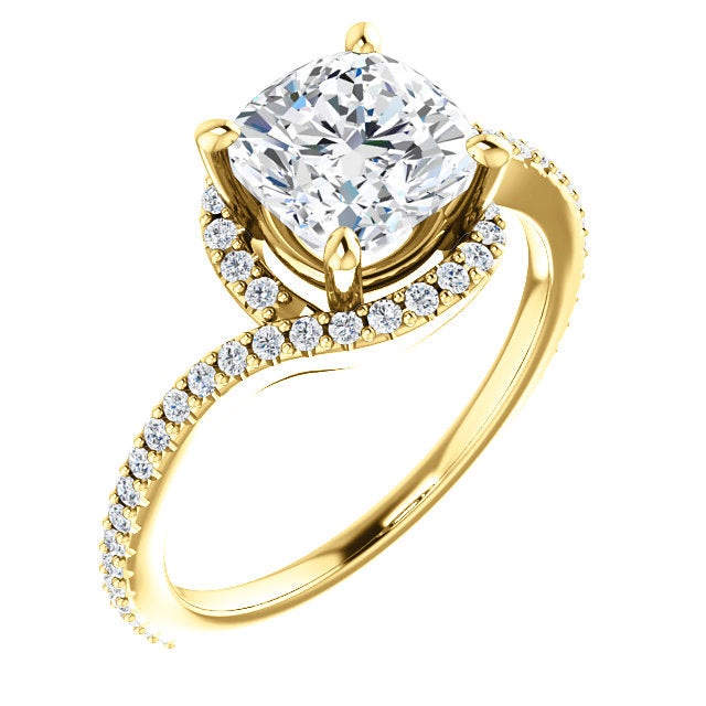Cushion Cut Wrapped Halo Engagement Ring - Michael E. Minden Diamond Jewelers