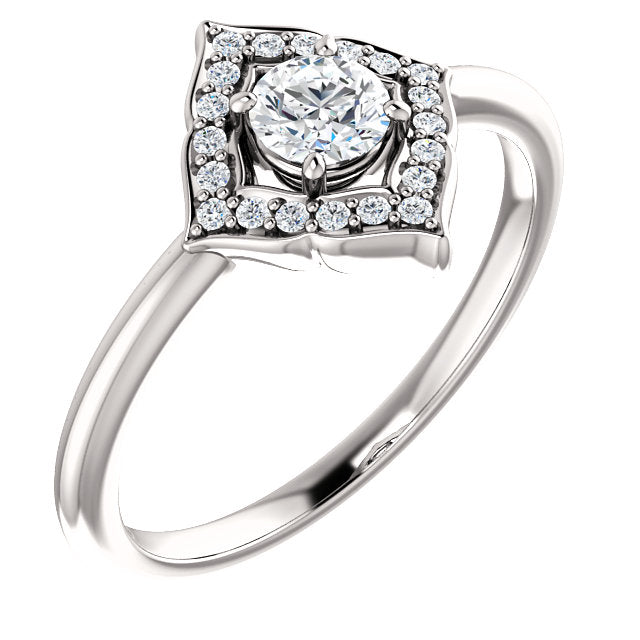 Halo Style Clover Engagement Ring - Michael E. Minden Diamond Jewelers