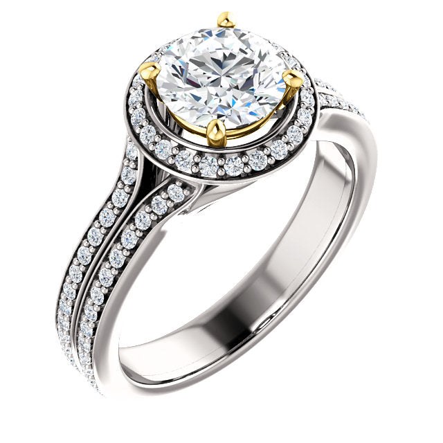 Round Cut Two-Tone Prong Engagement Ring - Michael E. Minden Diamond Jewelers