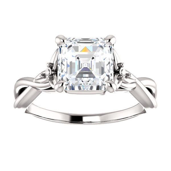 Asscher Cut Twisted Detail Engagement Ring - Michael E. Minden Diamond Jewelers